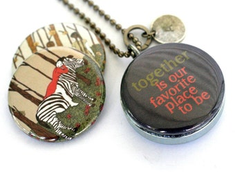 TOGETHER Locket Necklace - Best Friends, Sisters Locket, Zebra, Holding Hands, Friendship Jewelry, Shirae Artwork, Upcycled by Polarity