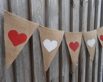 Heart Banner Wedding Banner Bridal Party Banner Burlap Wedding Decor Wedding Garland Heart Garland Rustic Burlap Bunting Wedding Bunting