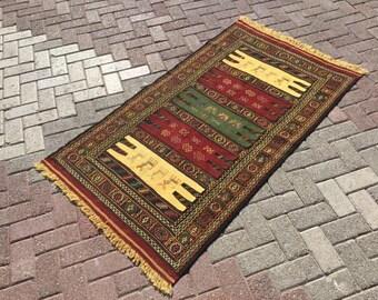 Soumak kilim rug, Vintage Turkish kilim rug, small area rug, kilim rug, kelim rug, vintage rug, bohemian rug, bathroom rug, rug, door, 739