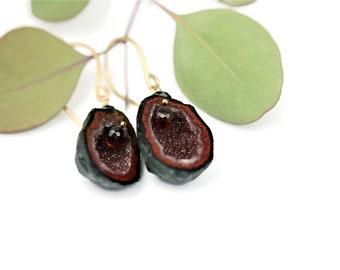 Tabasco Geode Quartz Earrings Garnets Boho Hand Forged Ear Wires 14k Gold Filled Organic Shape Style Festival Jewelry Bohemian Gift Idea