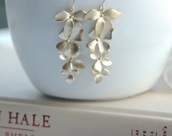 Gold Cascading Orchid Dangle Earrings. Cascading Orchids. Bridesmaids Gift. Long Gold Orchids. Wedding Gifts. Garden Wedding. Bridal.