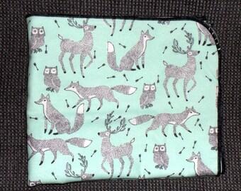 Fox Deer Owl Receiving Blanket - Woodland Animals Swaddle Blanket - Boy Receiving Blanket - Gender Neutral Flannel Blanket - Baby Photo Prop