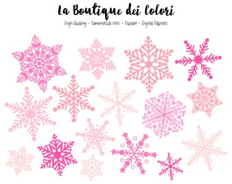 Pink Snowflake Clipart, Cute Graphics PNG, Christmas snow flakes silhouette, winter Clip art, Planner Stickers Commercial Use