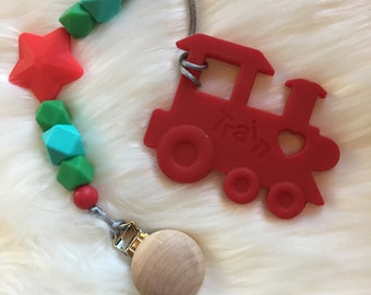 Red Train Teether and Pacifier Clip- Item 95