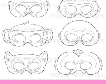 Primates Printable Coloring Masks, ape mask, chimp mask, gorilla mask, lemur mask, baboon mask, orangutan mask, monkey mask, capuchin mask