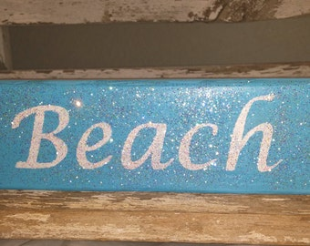 Beach Block Blue Wood Glitter Block Beach Home Decor Wood Shelf Sitters