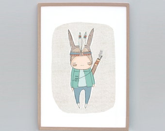 Children Kids Art, Nursery Poster, Animal Wall Art Boy, Warrior Art Print, Warrior Boy, Boys Nursery Art, Green, Bunny Art Boy, Rabbit Art