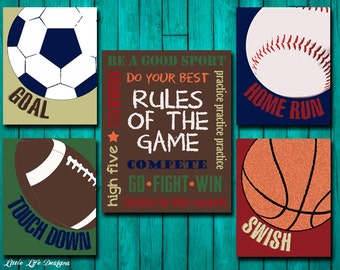 Sports Decor - Sports Nursery - Boy Room Decor - Rules of the Game Sign - Football, Baseball, Basketball, Soccer Signs - Kids Sports Decor