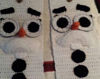 Crochet snowman scarf