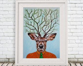 Wonderful Deer Print, Antler, Stag, Deer Art, Deer Art Print, Deer Artwork, Wall Decor, Wall Art, Deer Wall Hanging, Gift For Men, Deer Tree