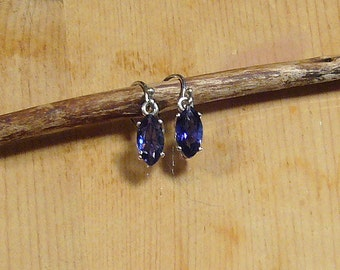 Faceted Blue Iolite Marquis Sterling Silver Earrings
