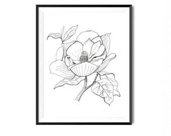 Magnolia Print, Flower Art, Botanical Illustration, Wall Art, Pen Ink Print, Floral Art, Botanical Print, Black White Flower Print, Flora