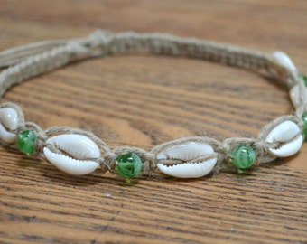 Hemp Necklace Glow in the Dark Green Cowrie Shells Beach Jewelry Vacation Everyday Choker