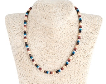 Earth Tone Coconut Wood Beads Necklace