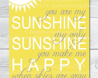 You Are My Sunshine -Yellow - Nursery Art Instant Download