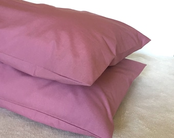 Pillowcase, pillow cover, large memory foam size and standard size in dusty rose