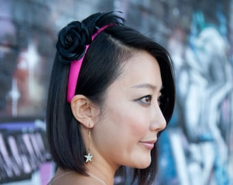 Pink Flower Headband With Black Rose Flower And Black Feathers On Hot Pink Headband