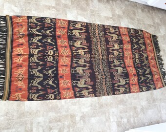 Large Vintage Ikat Hanging Throw Red Blue Roosters Turtles