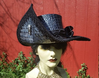 Silver and black leather pirate hat
