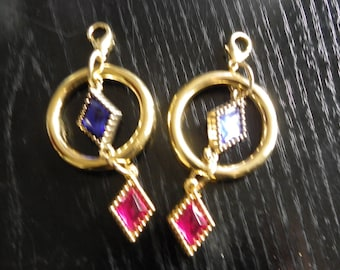 2 charms pink bags with synthetic stones gold, blue round 37 mm