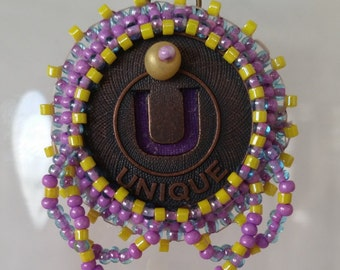 Unique Bead Embroidery Necklace - 01U45