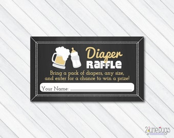 Baby is Brewing Diaper Raffle Ticket, Baby Shower Diaper Game, Beer Co-ed Couples Baby Shower, Chalkboard - PRINTABLE INSTANT DOWNlOAD