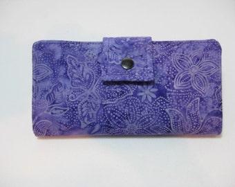 Purple Wallet, Ladies Handmade Wallet, Bifold Clutch