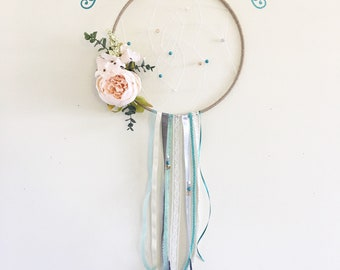 Dream Catcher Hanging wedding, bridal shower, baby, gift, nursery, bedroom, ribbon, flower, boho, hoop, birthday party, sleep, macrame, wall