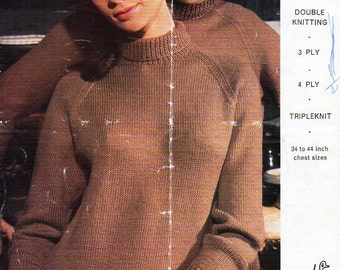 womens / mens polo neck sweater knitting pattern pdf 3ply 4ply / DK ladies roll neck jumper Vintage 60s 34-44inch 3ply 4ply 8ply DK Download