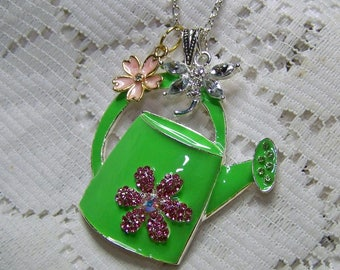 Necklace Gift for Gardener, Cottage Chic Watering Can with Flower & Dragonfly, Watering Can Necklace, Gardener's Gift, Nature Lover Gift