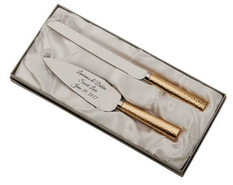 Personalized For Free Wedding Cake Server and Knife Set With Gold Hammered Style Handles In Gold And Silver Tone Cake Knife Server Set