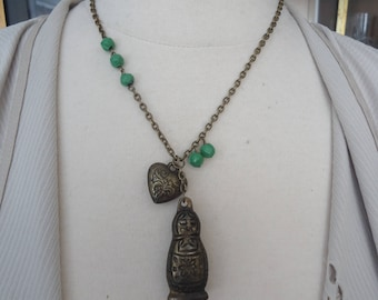 Vintage Asymmetrical Oxidized Brass Russian Doll and Heart Pendant Necklace w/ Brass and Green Beaded Accents