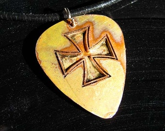Iron Cross, Engraved Copper Guitar Pick Necklace