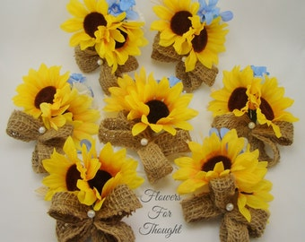 Sunflower Corsage with Burlap and Straw, Rustic Summer or Fall Wedding Guest Flowers, 1 Wrist or Pin Corsage