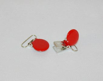 1 clip clip Clip-pacifier/Soother/blanket/strap red metal