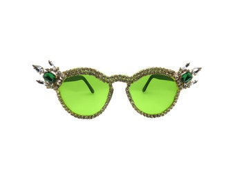 Green Transparent Rhinestone Sunglasses - SPINEL