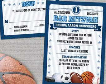 All Star Sports Trading Card Bar Mitzvah Invitation and RSVP; Pick your own team color; Printable, Evite or Printed (US Only) Invitations
