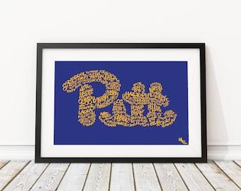 University of Pittsburgh Typography, Custom Wall Poster, Digital Wall Print