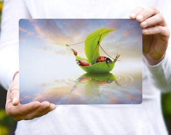 Large Ladybugs Fantasy Postcard, Nursery Decor, Home Decor, Invite, A5  - 8.25 x 5.75 inch