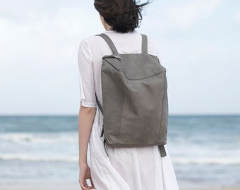 Leather Backpack, Women Bag, Concrete Gray Leather Bag, Dark Brown Handmade Leather Bag