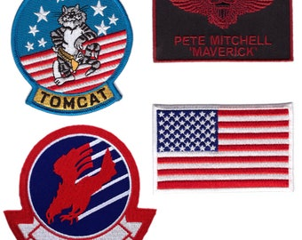 4-Piece Set Top Gun Movie Maverick Tom Cat VF-1 Flag Fighter Jumpsuit Patch