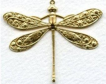 Vintage Victorian Dragonfly Pendant, Focal - Necklace Focal - Bright Gold - Ornate Scrolled Filigree - 50x45mm - 01 Each