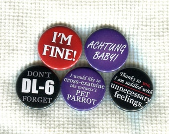 """1.25"""" Ace Attorney quote pinback buttons"""