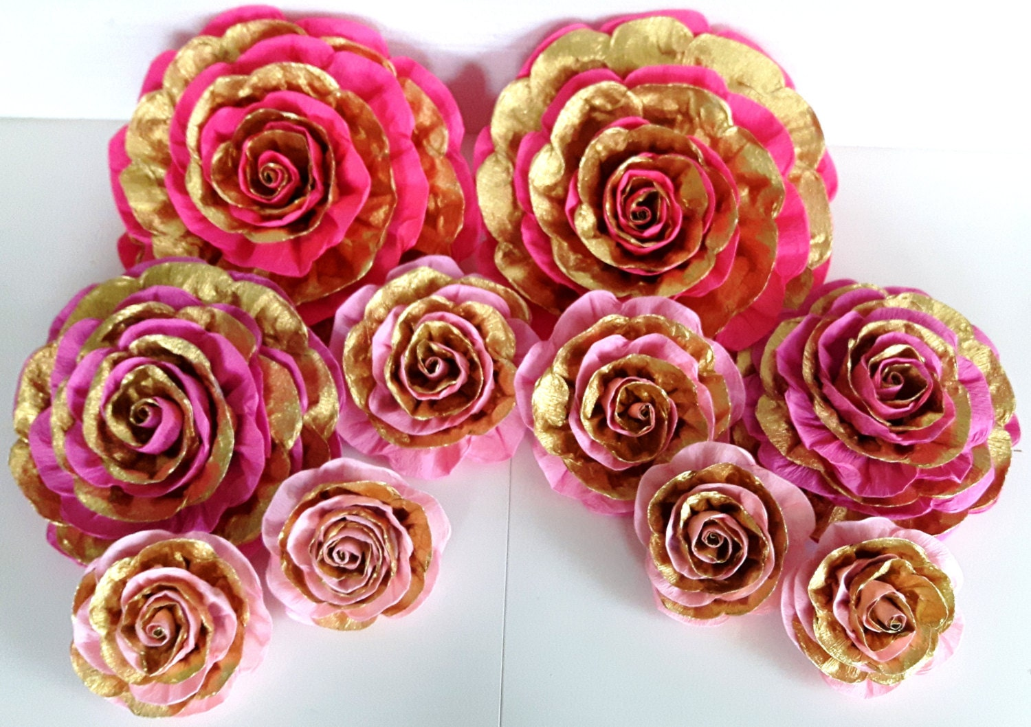 9 large giant paper flowers pink gold wall decor wedding zoom mightylinksfo