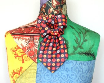 Woman necktie brooch, neck accessory, necktie collar, unique, chic brooch, necktie pin, handmade upcycled necktie, red blue silk
