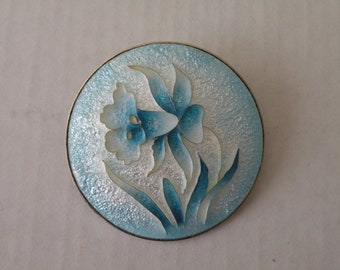 White, blue enamel flower brooch, pendant.