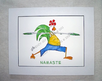 Yoga Warrior Rooster Art Print New Years Fitness Health Namaste
