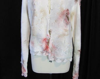 bloody (med) zombie sweater, zombie cardigan zombie costume, apocalypse, bloody, undead, living dead, halloween costume, blood