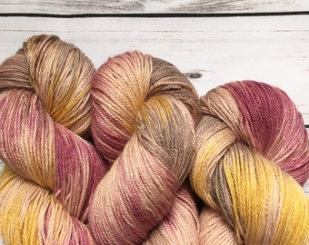 Peony Patch Hand Dyed Baby Alpaca Silk & Cashmere Sock Yarn 100g 400M