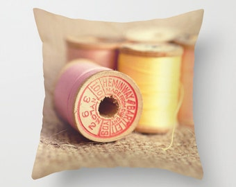decorative pillow cover, spool of thread,  photography pillow cover, sewing room decor, pink home decor, sewing art